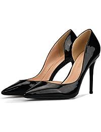 ce6336852 SDKHIN Bombas de Punta Estrecha para Mujer Elegante Corte de Charol Tacones  Altos de Cuero Sexy Zapatos de Dama de Honor Zapatos de…