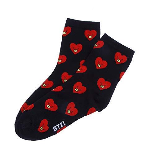 Saicowordist Kpop BTS Jacquard-Socken aus Baumwolle Cartoon Socken Erwachsene Socken Neutral Stil Atmungsaktiv Warme Baumwollsocken A.R.M.Y Hot Geschenk(Einheitsgröße V) -