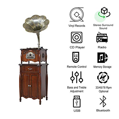 GOM Plattenspieler Bluetooth Retro, 3-Speed Turntables, Eingebaut Stereo HiFi Audio Lautsprecher-Systeme, Cinch-Ausgang, Unterstützung CD-Spieler, Radio, USB-Anschluss (Color : Brown) - System Turntable Stereo