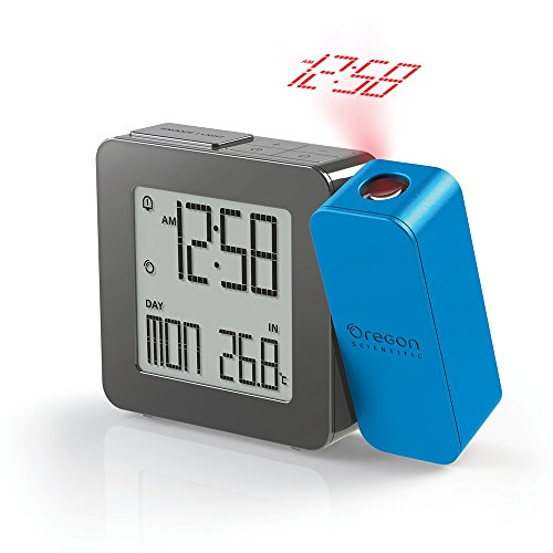 Oregon Scientific RM338P_B - Reloj Despertador proyector con temperatura interior, Digital, AA, azul