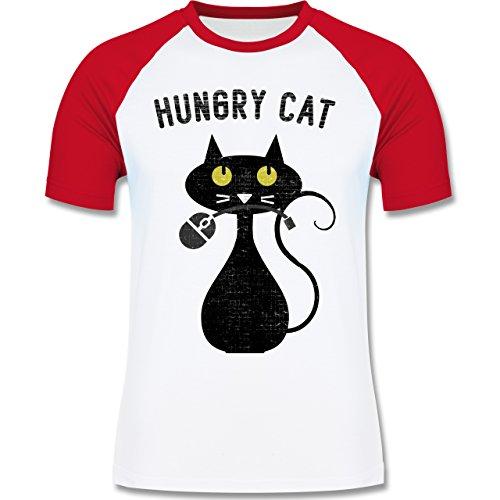Nerds & Geeks - Hungry Cat - Nerdy Cats - zweifarbiges Baseballshirt für Männer Weiß/Rot