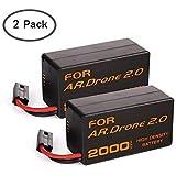 Eleoption Batterie Rechargeable 2000 mAh 11,1 V en Lithium-ION Polymer pour Parrot AR.Drone 2.0 Quadricoptère Télécommandé (2 Pcs)