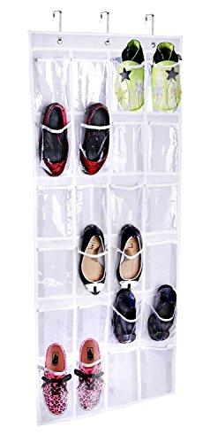 Joyoldelf Hängeorganizer hängend Aufbewahrungstasche Ordnungssystem Schuhaufbewahrung Für Tür mit 24 Tasche,weiß
