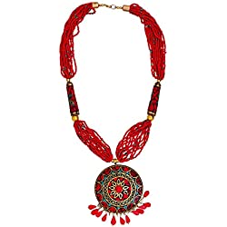 Purpledip Necklace With Glass Beads & Red Gemstone Pendant; Unique Design For Traditional Or Contemporary Wear (30092)