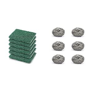 Cello Kleeno Utensil Scrubber (Green, Pack of 6) & Kleeno Stainless Steel Small Scrub Pad (Silver, Set of 6) Combo