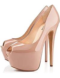 585004afe6 FEFEFEF Sandalias de Mujer Color Negro Desnudo súper tacón Alto Impermeable  Plataforma Pescado Boca Solo Zapatos