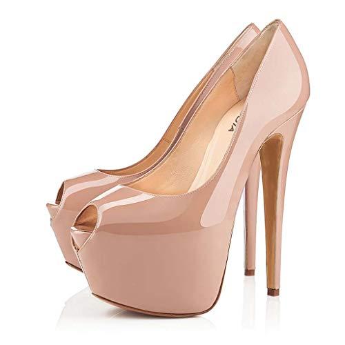 FEFEFEF Frauen Sandalen schwarz Nude Farbe Super High Heel Wasserdichte Plattform Fisch Mund einzelne Schuhe (Fisch Plattform Schuhe)