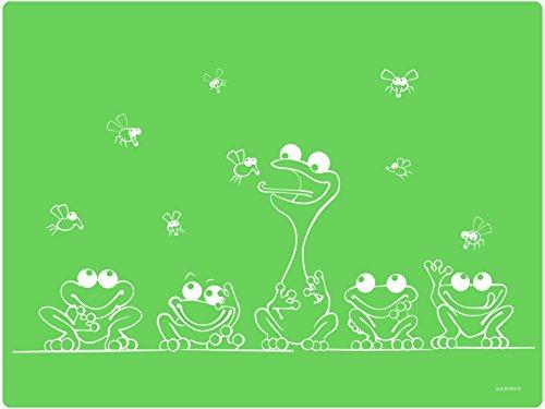 Dinomio Tischunterlage für Kinder mit Frosch - Rutschfest, abwischbar, 40 x 30 cm, Grün