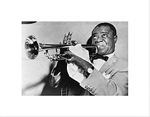 PHOTO MUSIC JAZZ LOUIS ARMSTRONG PLAYING TRUMPET JAZZ FRAMED ART