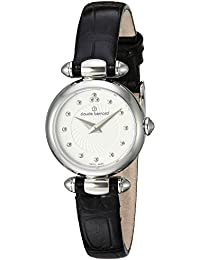 Claude Bernard Women's 'Mini Collection' Swiss Quartz Stainless Steel and Leather Dress Watch, Color: Black (Model: 20209 3 AIN)