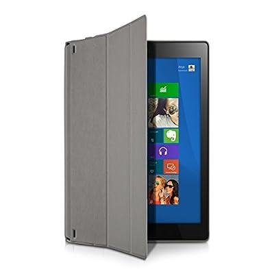 kwmobile 3in1 Set: Smart Cover Case für Lenovo Yoga Tablet 2 10 1050 mit Ständer - Schmale Ultra Slim Hülle aus Kunstleder in Grau + Folie, kristallklar + Stylus, Schwarz