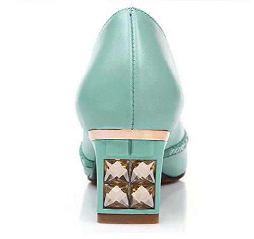 GLTER Donna Peep Toe pompa strass interno al di fuori di tutta la pelle permeabile sandali della bocca poco profonda days blue