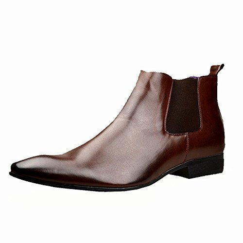 mens-black-leather-smart-formal-casual-chelsea-boots-shoes-9-uk-43-eu-brown