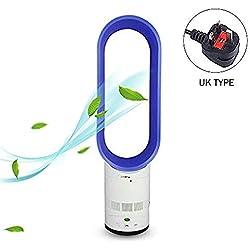 WENZHEN Ventilateur sans Lame Multiplicateur de Refroidisseur d'air Ventilateur sans Feuilles avec télécommande au Sol, Ventilateur de Refroidissement Permanent pour Home Office @ Bleu