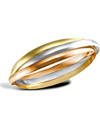 Jewelco London Ladies Solid 9ct Yellow White and Rose Gold Russian Wedding Ring 4mm Bangle Bracelet