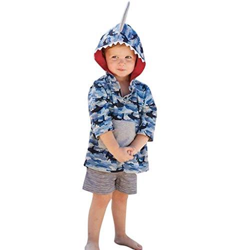 Julhold Kleinkind Kinder Jungen Mädchen Cute Fashion Cartoon 3D Hooded Shark Camo Sweatshirt Mäntel Loose Tops 0-4 Jahre