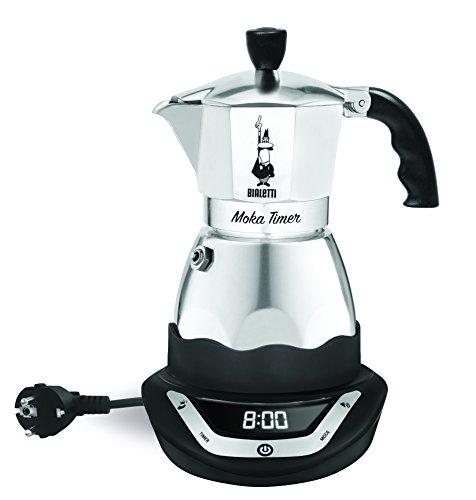 Bialetti - 6093 - Easy Timer - Cafetière Italienne Electrique en Inox - 6 Tasses - Noir/Gris