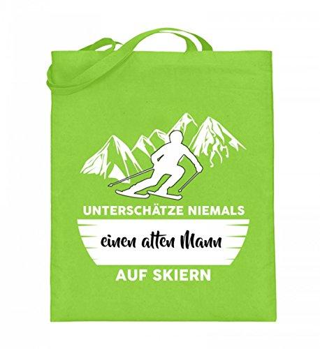 Hochwertiger Jutebeutel (mit langen Henkeln) - Unterschätze niemals einen alten Mann auf Skiern Limette