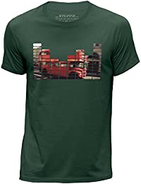 STUFF4 Men's X Small (XS) Dark Green Round Neck T-Shirt/Equalizer/London Bus