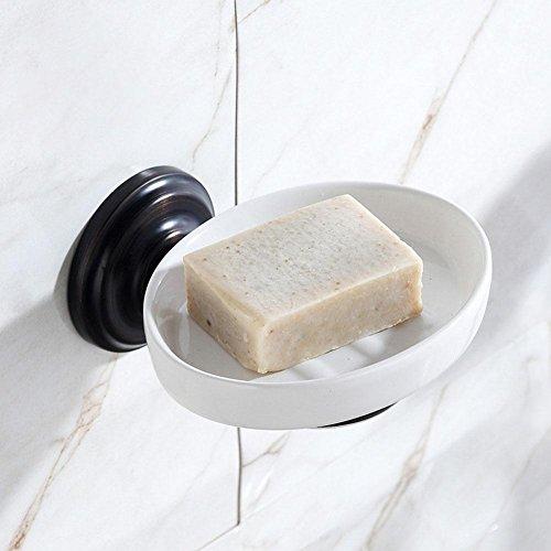 MSAJ-Schwarz Geb¨¹rstet Retro American Fette SOAP Gericht Bad Seife Teller Halter Zahnstangen (Handtuchhalter Wand Gericht Montiert)