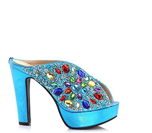 Black Color African Women Matching Italian Shoes And Bag Set Decorated with Rhinestone Italian Ladies Shoe And Bag Only Shoes Sky Blue 42