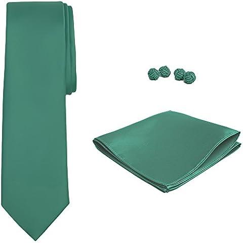 Jacob Alexander Color Sólido Hombre Juego de Gemelos y corbata pañuelo
