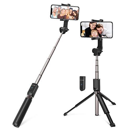 Bluetooth Selfie Stick, BlitzWolf 90cm Erweiterbarer Selfie Stang Stab mit Bluetooth-Fernauslöse und Stativ für Android Samsung Galaxy 3.5-6 Zoll Smartphones(Erweiterte Version-Schwarz)