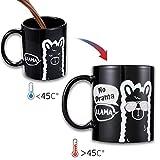 Onebttl Tasse à café Marrant Sensible à la Chaleur « No Drama Llama » Humoristique Tasse Magique, Mug Thermique 300 ML.Bonus Un traqueur d'habitude de Lama Cadeaux de Llama