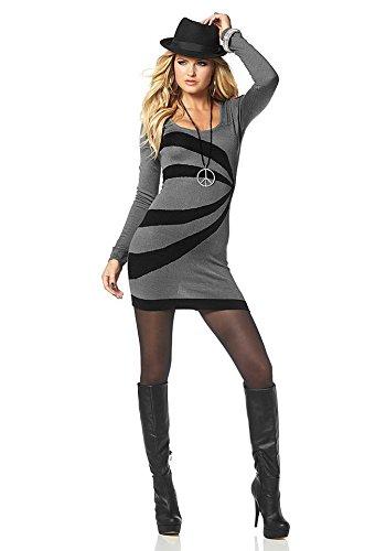 Melrose - Robe - Moulante - Col Ras Du Cou - Manches Longues - Opaque - Femme Gris Gris/noir Multicolore - Gris/noir