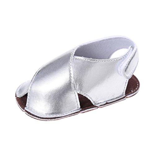 Koly_Neonato Flower morbida suola antiscivolo sandali del bambino Jean Sneakers (SIZE 12, Argento)