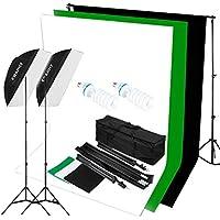 CRAPHY Softbox Focos Kit Iluminación Fotografía con 2 Ventana de Luz 125W 50cm x70cm, 2 Trípode Luz Continua,3 Fondo con Soporte y Bolsa Portátil para Estudio Fotográfico Profesional