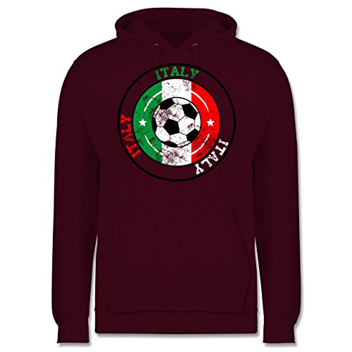 EM 2016 - Frankreich - Italy Kreis & Fußball Vintage - Männer Premium Kapuzenpullover / Hoodie Burgundrot