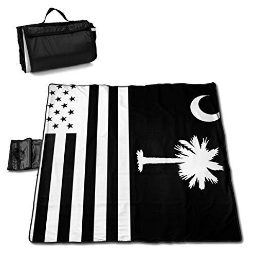 South Carolina State Flag Black White Portable Large Picnic Blanket 57