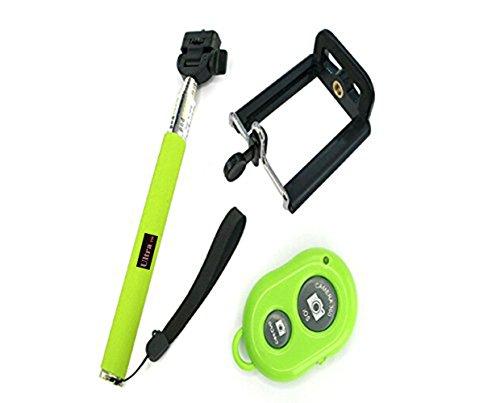Ultra® verde extensible Wireless Bluetooth Selfie Stick monopie disponible en rosa, negro, azul y verde con soporte ajustable para teléfono Smartphone Bluetooth remoto inalámbrico disparador para iPhone Samsung y otros IOS y Android Smartphone (verde)