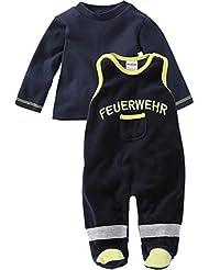 Schnizler Unisex Baby Strampler Set Nicki, Feuerwehr, 2 - Tlg. mit Langarmshirt, Oeko-tex Standard 100