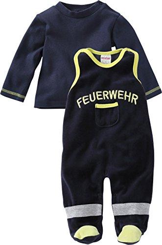 Schnizler Unisex Baby Strampler Set Nicki, Feuerwehr, 2 - tlg. mit Langarmshirt, Oeko - Tex Standard 100, Gr. 56, Blau (marine ()