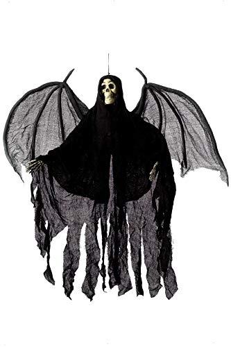 Smiffy's-36044 Adorno de Esqueleto de ángel para Colgar, con túnica con Capucha y alas, Color Negro, No es Applicable (36044)
