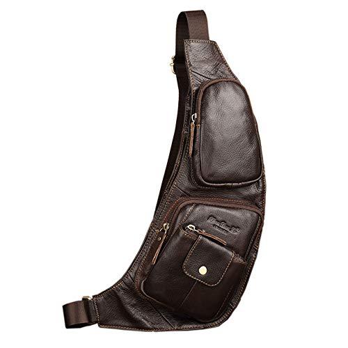 Xieben Vintage Leder Sling Brust Umhängetasche Pack für Herren Damen Reisen Outdoor Motorrad Fahrrad Schulter Messenger Crossbody Pack Rucksack Daypack Kaffee -