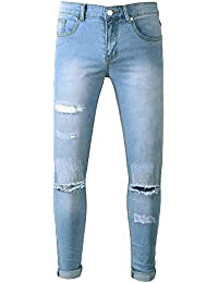 4bb91add742 Mens Stretchy Ripped Denim Jeans Trousers Casual Biker Stretch Skinny Fit  Jeans AMhomely Destroyed Taped Slim Trousers Cotton Straight…