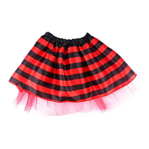 chenpaif Kinder Baby Halloween Kostüm Multi Layer Kontrastfarbe Gestreifte Honeybee Ladybird Cosplay Tanzparty Mini Tutu Rock Kleid 2-8 T Rot