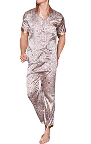 CuteRose Mens Cozy Breathable Charmeuse Short Sleve Plaid Loungewear Set 4 L - Jersey-charmeuse