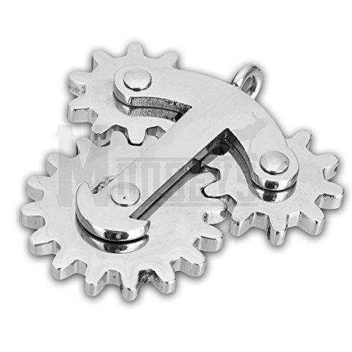 Edelstahl Zappeln Getriebe Halskette Schlüsselanhänger Anhänger Spange Für Anti Stress EDC ADHS von (Halskette Getriebe)
