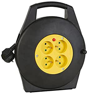 Dexlan Câble de Enrouleur avec 4 multi-prises et thermo-fusible 10 m