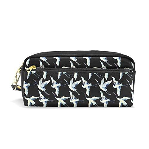 Aquarell asiatischen Kran Vogel Muster tragbare PU-Leder Federmäppchen Schule Stift Taschen Schreibwaren Tasche Make-up Kosmetiktasche große Kapazität (Asiatische Schule)
