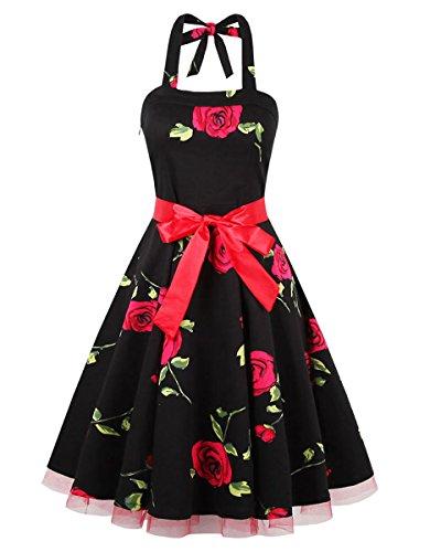 Dissa M120318D Robe de bal Vintage pin-up 50's Rockabilly robe de soirée cocktail,S-XXL Noir rouge