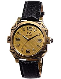Watch Me Branded Exclusive Gold Dial Black Leather Watch For Men And Boys WMAL-302