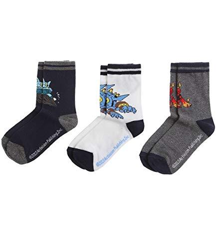 3er Pack Kinder Jungen Freizeit Socken von Skylanders in 4 verschiedenen Größen, Farbe:blau/graue Variante;Größe:23-26