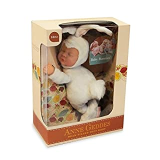 Anne Geddes Baby Snow White Bunny Rabbit - Soft Bean Filled Body Doll 23cm