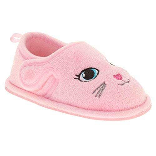Toddler Girls Pink Kitty Cat Loafer Style Slippers Animal House Shoes