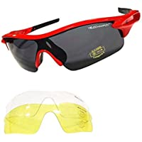 VeloChampion Warp Cycling Running Sports Sunglasses - (with 3 lens: inc smoked, clear) (Red Frame with Black Nose and Bl